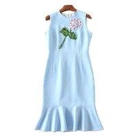 Women Summer Dresses 2017 High Quality O Neck Sleeveless 3D Flower Sequined Elegant Mermaid Dress Vestidos