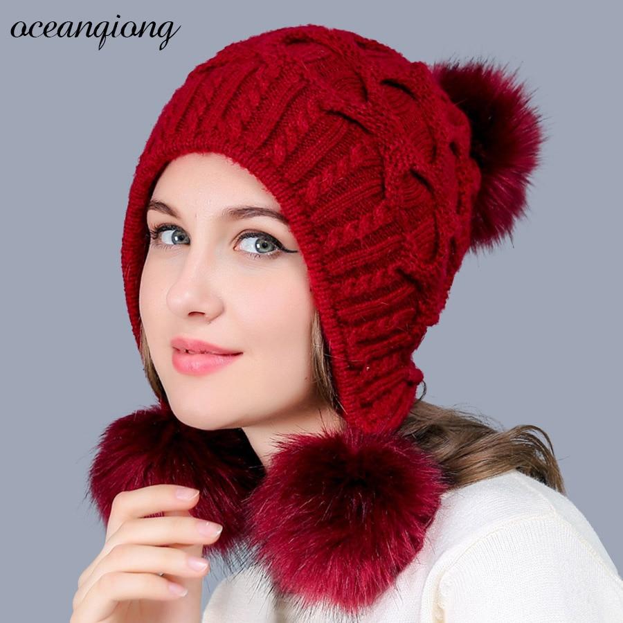 Winter Hat for Women Warm Knitted Rabbit   Skullies     Beanie     Beanies   Knit Hats Three Pompoms Cap Female Girls Cute Woolen Caps 2017