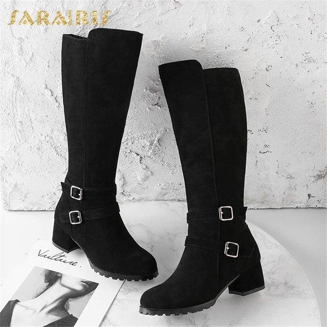 SARAIRIS Cow Suede New Zip Up Shoes Woman Boots Hot Sale Square Heels Add Fur Mid Calf Boots Woman Shoes Winter Size 34-40 5