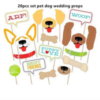 20 unids set Pet Dog Forma Banquete de Boda Foto Atrezzo