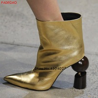 Newest Strange Heel Ankle Boots For Women pointed Slip On Gold Boots Ladies High Heels Fashion Short Boots