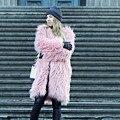 Розовый серый длинный Пушистый shaggy шуба Румяна розовый альпака искусственного меха пальто для женщин