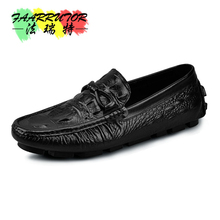 Mens Crocodile Emboss Genuine Leather Tassel Moccasins Slip On Penny Loafers Business Man Casual Driving Shoes new men s octopus leather penny loafers crocodile slip on driving shoes mens casual shoes moccasins business boat shoes branded