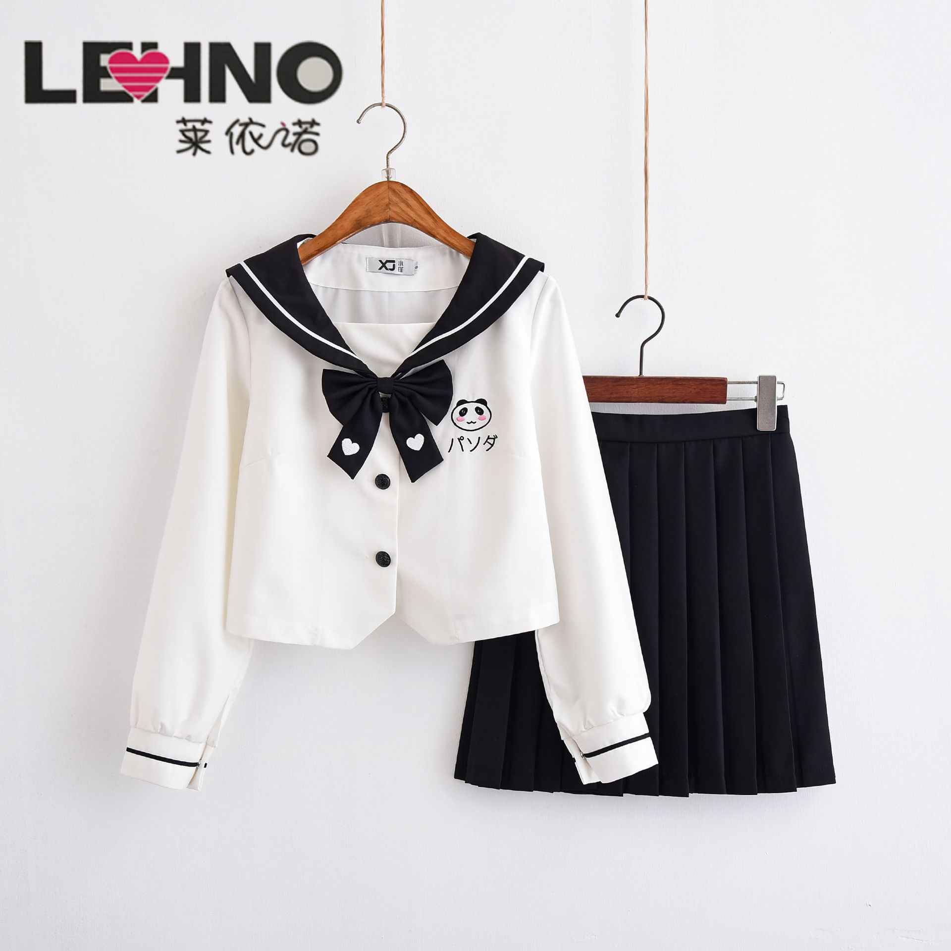 Japanese Lovely Panda Embroidered Long Sleeve JK School Uniform Sailor Suit