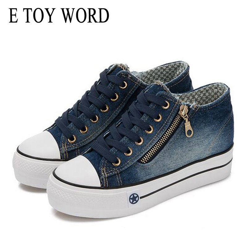 E TOY WORD Canvas Shoes Women han edition 2018 Spring Cowboy increased Thick Soles Casual Shoes Female Side zip Jeans Blue 35-40 flower embroidery jeans female blue casual pants capris 2017 spring summer pockets straight jeans women bottom a46 page 2