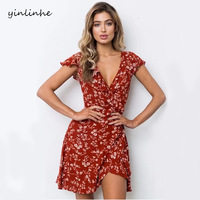 Yinlinhe Red Floral Print V Neck Wrap Beach Dresses Summer Mini Dress Women Sashes Tied Short