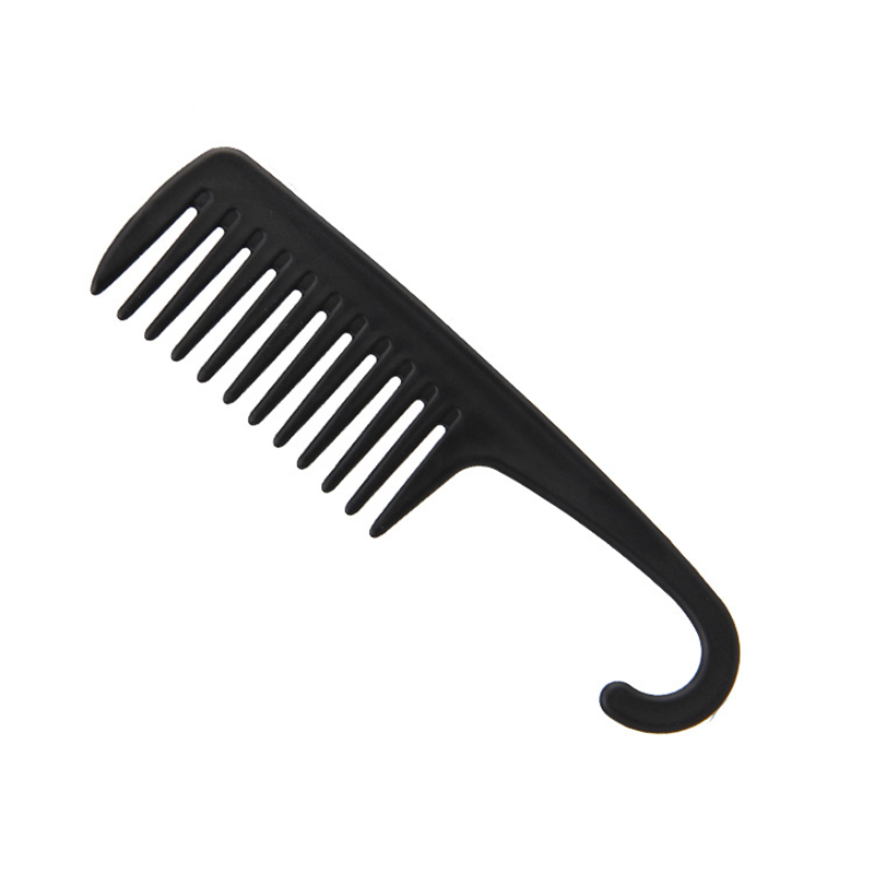 Купить с кэшбэком Black Plastic Hair Brush Wide Tooth Comb with Hanger Anti-Static Large Wide Comb for Straight Wavy Hair Care Styling Tool