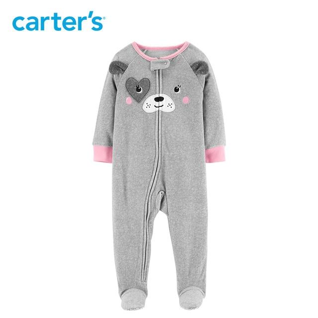 b9e7c2b022f6 Carters 1 Piece Dog Fleece Cute cartoon long sleeve footies newborn ...