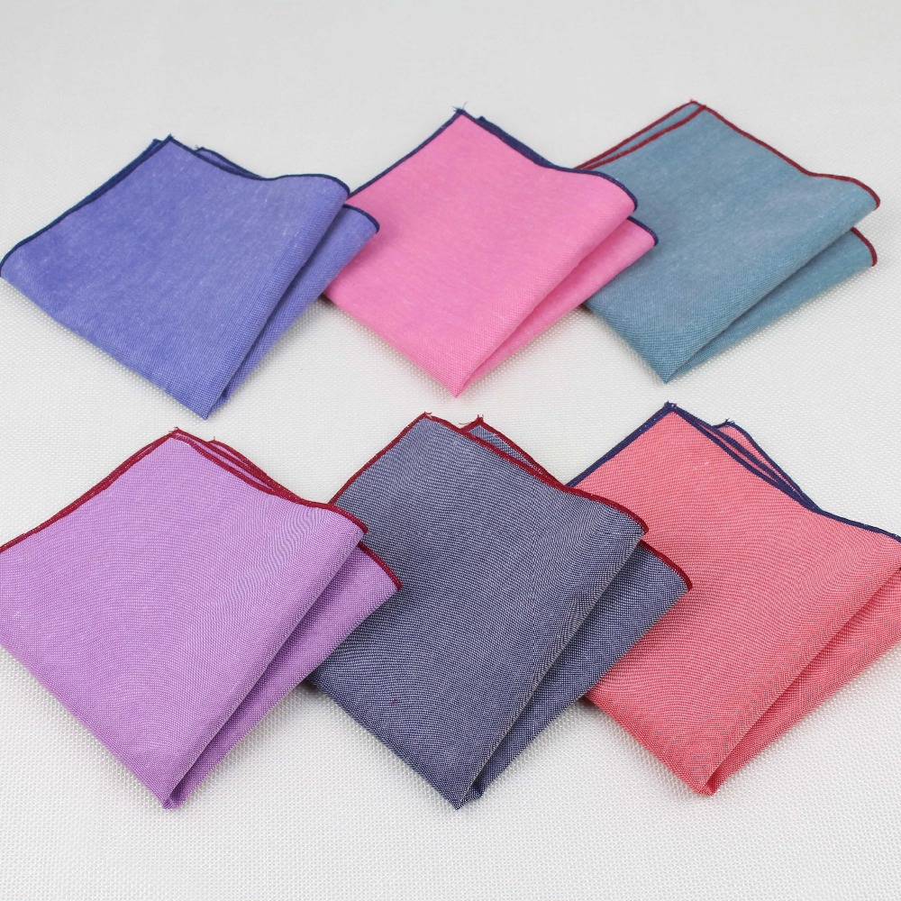 Handkerchief Scarves Vintage Like Linen Hankies Men's Pocket Square Handkerchiefs Solid Color23*23cm