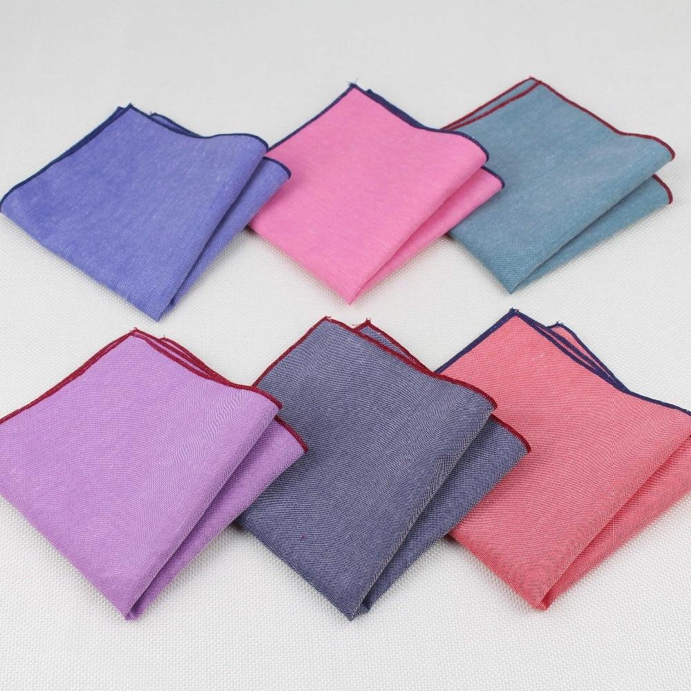 Handkerchief Scarves Vintage Like Linen Hankies Men's Pocket Square Handkerchiefs Solid Color23*23cm