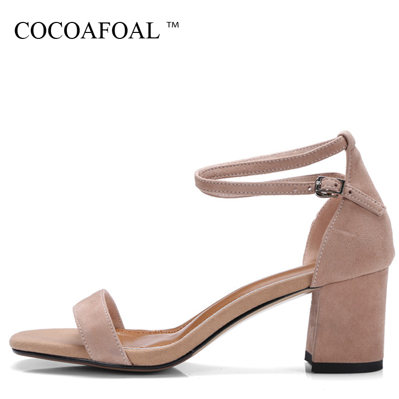 COCOAFOAL Woamn Summer Heel Height Sandals Plus Size 33 - 40 Fashion Buckle Strap Pink Shoes Pointed Toe Sheepskin Sandals 2018 women t strap moccasins flat shoes low heel sandals black gray pink pointed toe ballet flats summer buckle zapatos mujer z193