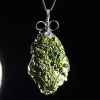 Natural Moldavite Green Aerolites Czech Meteorites Crystal Energy Apotropaic Reiki Healing Chakra Jewelry Stone Gift Collection