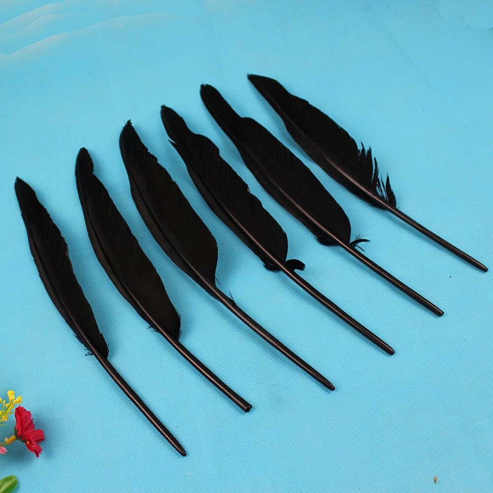 50 шт. оптовая 25-30 см черный натуральным перья индейки Шлейфы наращивание волос гусиный пух