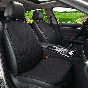 Image 2 - 1 מושב מכונית פשתן כיסוי מושב עם משענת מושב רכב כרית מגן כרית Mat אוטומטי קדמי רכב סטיילינג פנים
