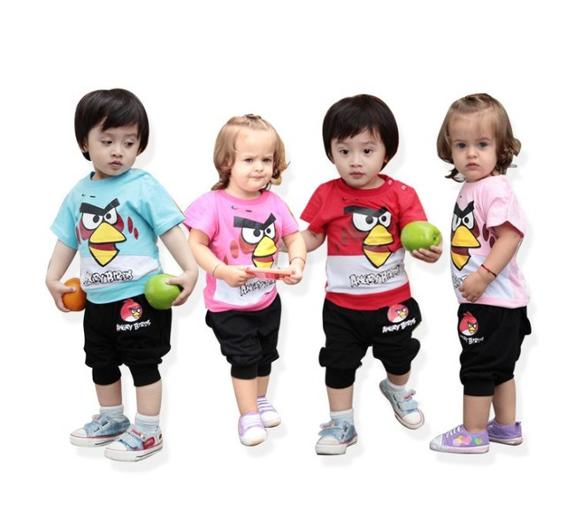 Free Shipping Wholesale Clothes for Kids 4 Colors Cartoon Short Sleeve Baby Garment Wear Two-Pieces Clothes Set T-shirt+Pants