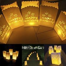 10pcs/lot Flower Tea Light Holder Luminaria Paper Lantern Candle Bag For Christmas Party Outdoor Wedding Decoration 2018(China)