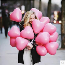 10pcs/lot Romantic 12 Inches 2.2g pink Heart Love Latex new year helium Balloons Wedding Party Valentines Day inflatable balls