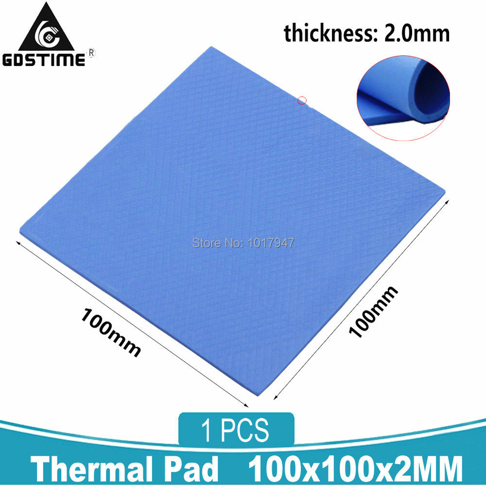 1Pieces Blue 100x100x2mm Computer PC GPU SMD DIP IC Silicone Compound Conductive Thermal Pad 2MM