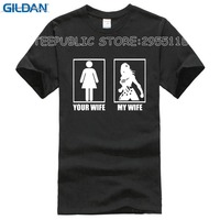 GILDAN My Wife Your Wife Funny Men Summer T Shirts Print 100 Combed Cotton Sofe Tee