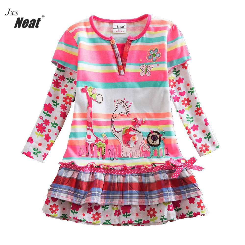 NEAT Autumn baby girl clothes kids long sleeves dress fashion brand Flowers Princess party Cake dress children clothing L323 fashion brand autumn children girl clothes toddler girl clothing sets cute cat long sleeve tshirt and overalls kid girl clothes