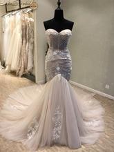 Купить с кэшбэком Vestido de noiva Sexy Mermaid Wedding Dresses Off-Shoulder Beaded Sweep Train Lace 2017 Robe de Mariage Casamento Wedding Gowns
