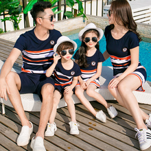 Summer Family Matching Outfits Cotton Striped Short Sleeve Dad Boy T-shirt Mom Girl Dress Short Pant