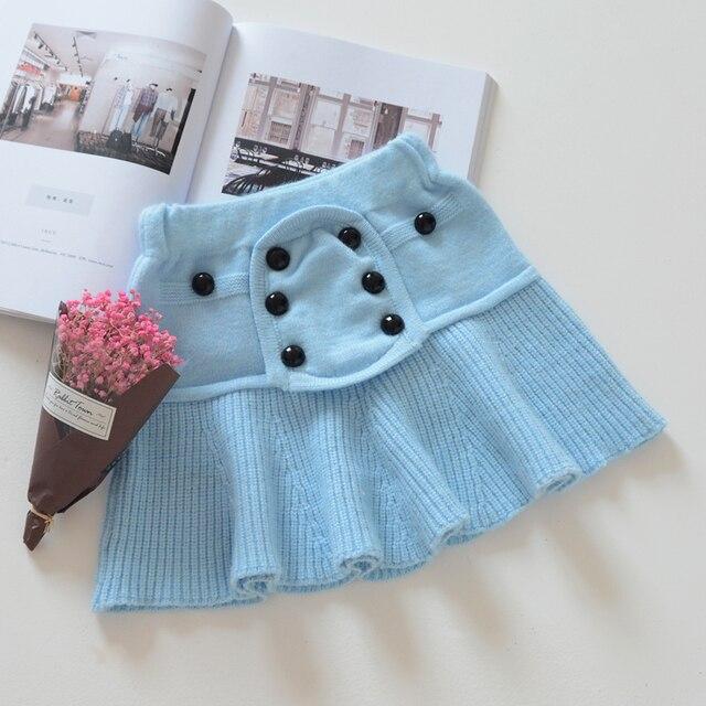 Hot spring and autumn 2017 girls skirts button skirt wool knit skirt children infant baby fashion cute skirt