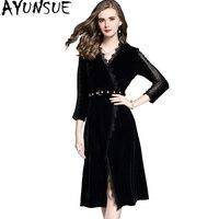 AYUNSUE 2017 Autumn Sexy Women Dress Long Slim Black Velvet Dress Female Elegant Lace Dresses With