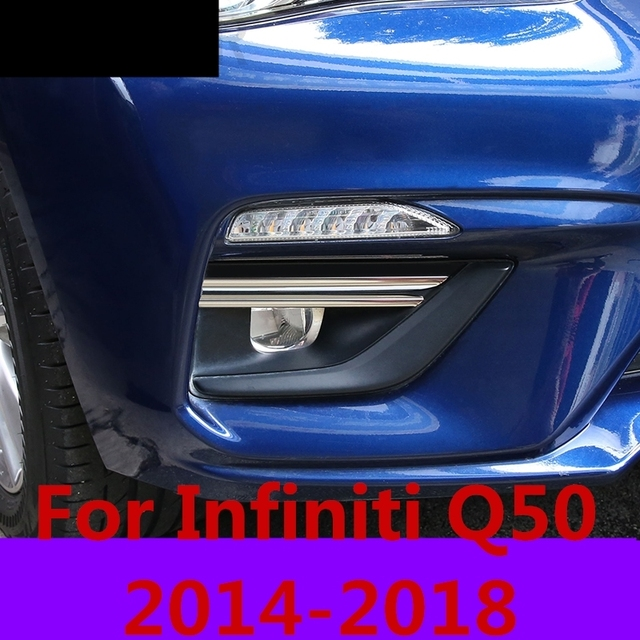 car styling Front fog light bright strip frame decoration decoration exterior decoration auto parts For Infiniti Q50 2014-2018