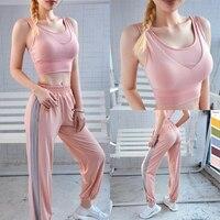 Two piece Sexy pink yoga set 2 piece fitness running gym jogging women sport wear suit 2019 seamless bra+pants sportswear