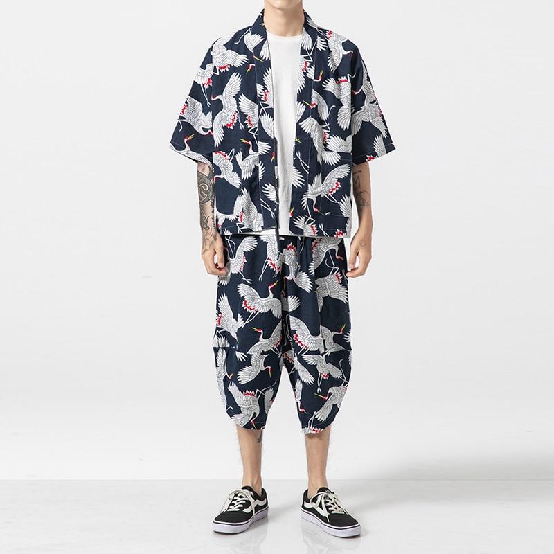 Mâle Voyage Plage Vêtements En Lin Coton Cardigan Manteau Hommes Ensembles (chemise + pantalon) Japon Street Style Mode décontracté Chemise Kimono