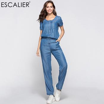 33aedab5360 Find Deals ESCALIER Womens Denim Jumpsuit Blue Long Pants 2018 Fashion  Loose Tencel Playsuit Plus Size Women Clothing S-3XL Working Rompers