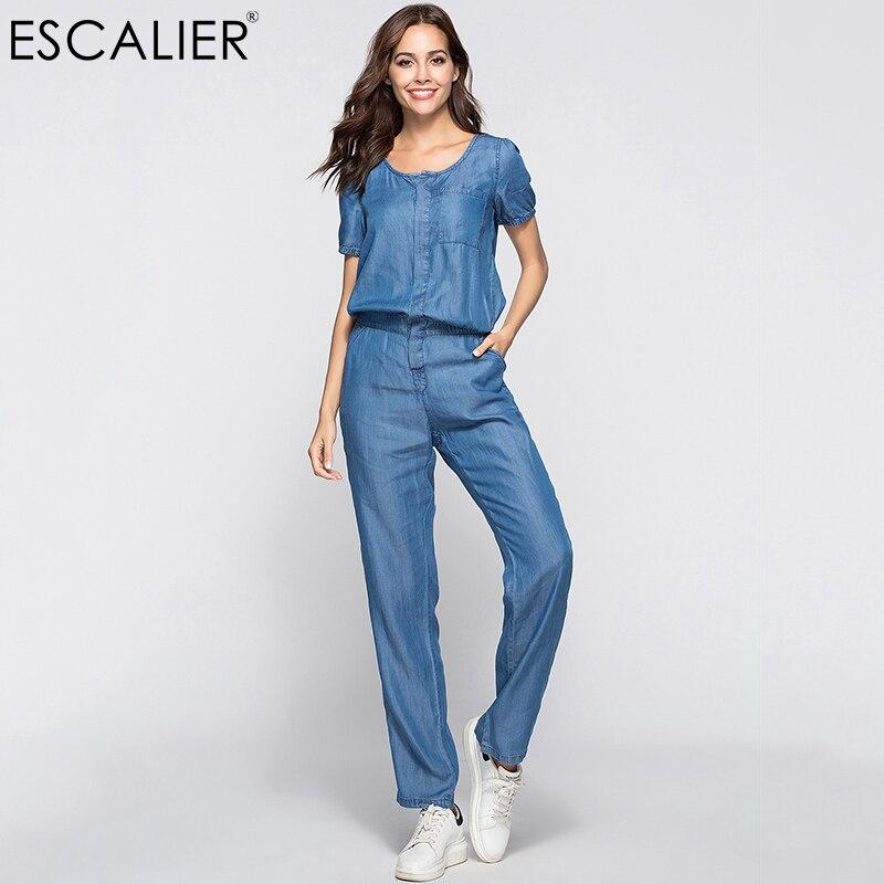 ESCALIER femmes Denim combinaison bleu Long pantalon 2018 mode lâche Tencel combishort grande taille femmes vêtements S-3XL travail barboteuses