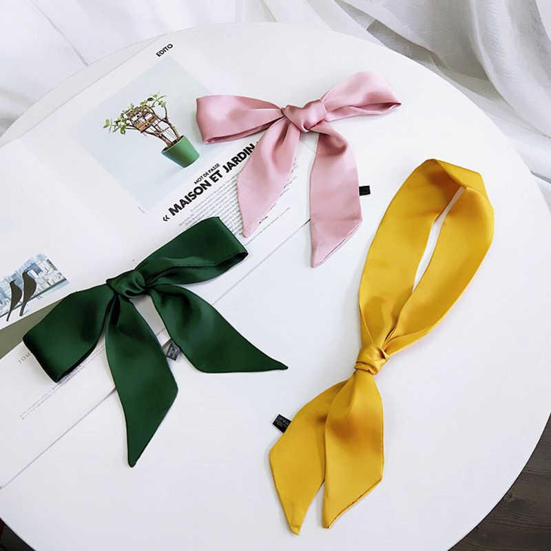 Однотонная, маленькая шелковый шарф для женщин; сезон весна-осень; летние с перекрестной шнуровкой сумки обернутой вокруг ручки ленты универсальный маленький Wris