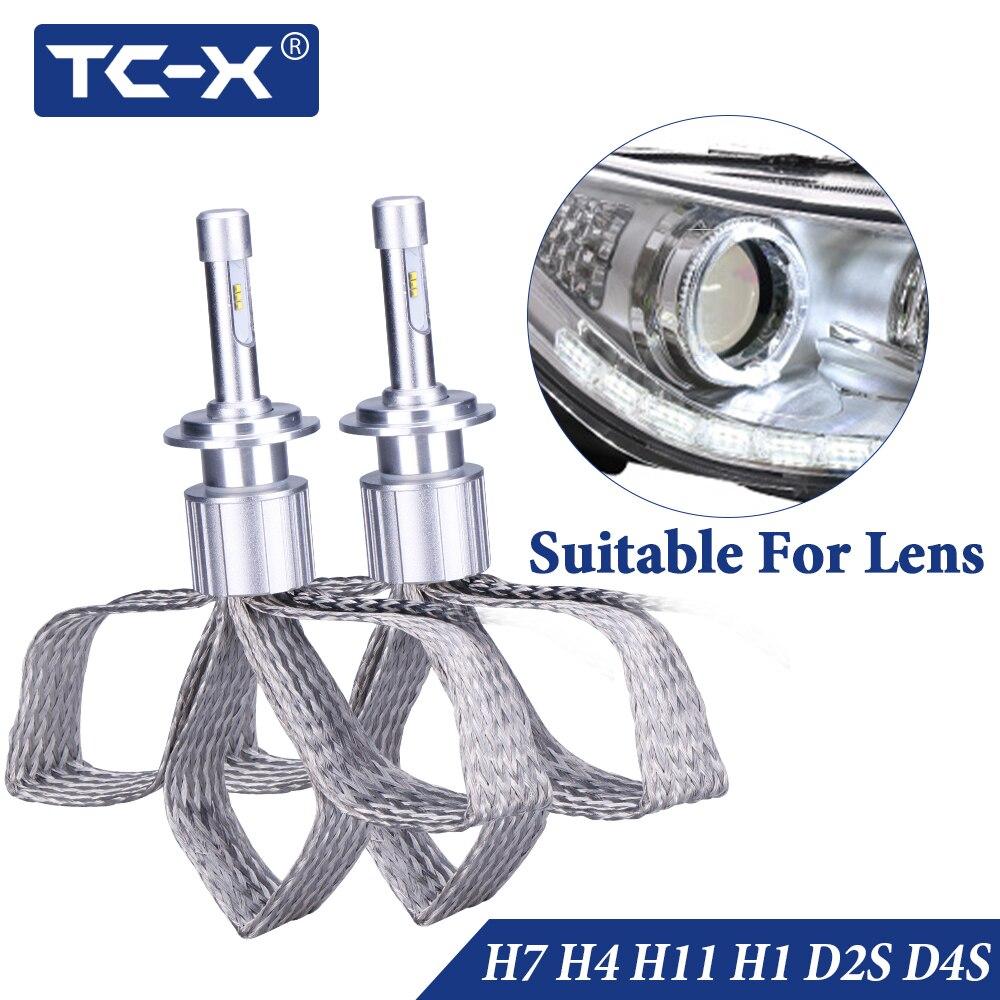 TC-X 2 pcs 7000LM/Set H1 H7 H4 H11 9005 9006 D2S D4S LED Phares Tressage De Cuivre HID Origine remplacement des ampoules LED De Voiture Lumière