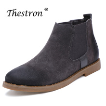 2018 New Trend Mid-Top Chelsea Boots Men Luxury Brand Comfortable Ankle Autumn Winter Fashion Leather Warm Shoes