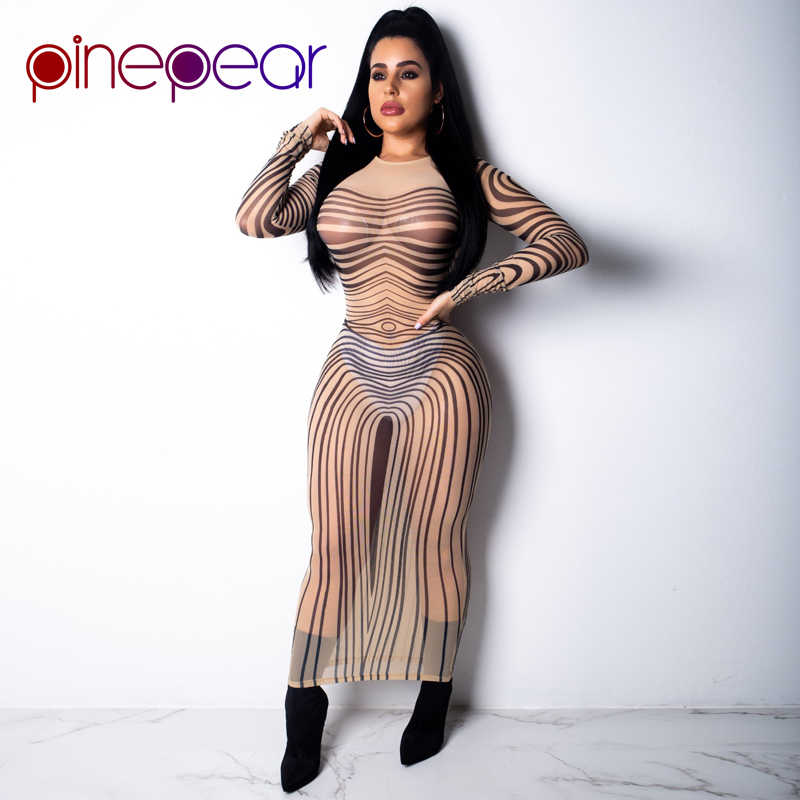 3d12277d7d4 ... PinePear Stripe Print Sheer Mesh Maxi Dress 2019 Women Long Sleeve  Sheath Elastic Transparent Sexy Club ...