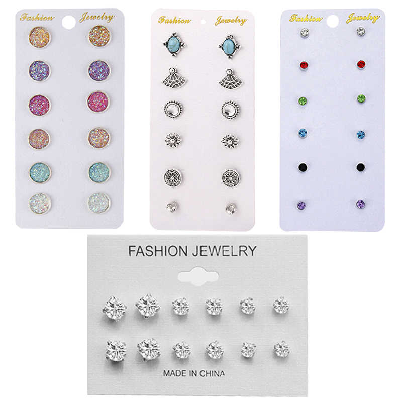 Fashion 6 pair/set Women Round Crystal Stud Earrings for Women Cubic Zircon Piercing Earrings for Girls Jewelry Gift jn0462