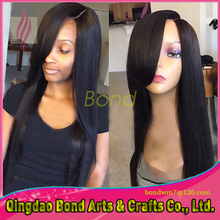 unprocessed 100% virgin Brazilian Human Hair Glueless Full Lace Full lace Wig with bangs cheap Lace front Wig baby hair