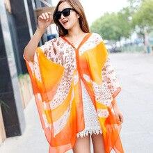 Beach sunscreen clothing scarves orange leopard chiffon scarf scarf shawl button SPF female scarf