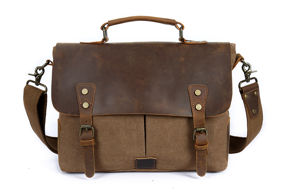 Vintage Canvas Handbags Men Shoulder Bag Crazy Horse Leather Casual Crossbody Bag Men's Travel Bags Laptop Briefcase Bag Totes man casual laptop briefcase vintage canvas bags men s crossbody bag shoulder men messenger bag travel bag free shipping li 1300