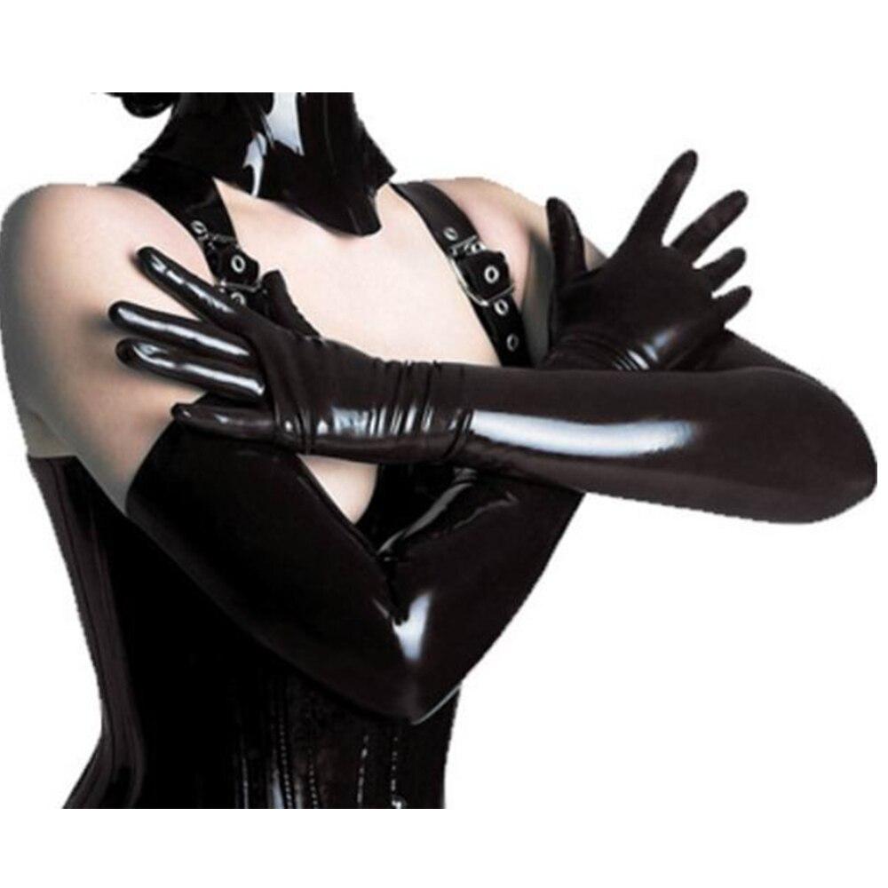 Adult Long Black Leather Gloves Opera Costume Vinyl Shiny Cat Womens Wet Look
