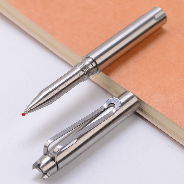 Stylo tactique en acier inoxydable | Fournitures durgence, stylo de protection automatique, outil de coupe-verre 3 têtes dattaque remplaçables