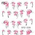 1 hojas de color rosa flores moda transferencia Nail Art Stickers agua belleza tatuajes Wraps DIY manicura herramientas de decoración STZ218-233