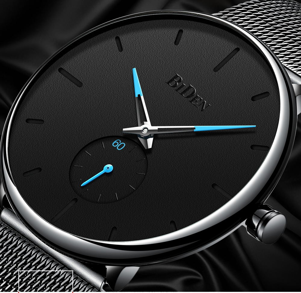 BIDEN fashion Quartz Watches Japanese Movement Watch Men Black Mesh Stainless Steel business Wristwatches Clock