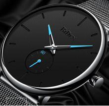 Прямая доставка Модные кварцевые часы Японский часовой механизм мужские черные сетчатые из нержавеющей стали деловые наручные часы BIDEN