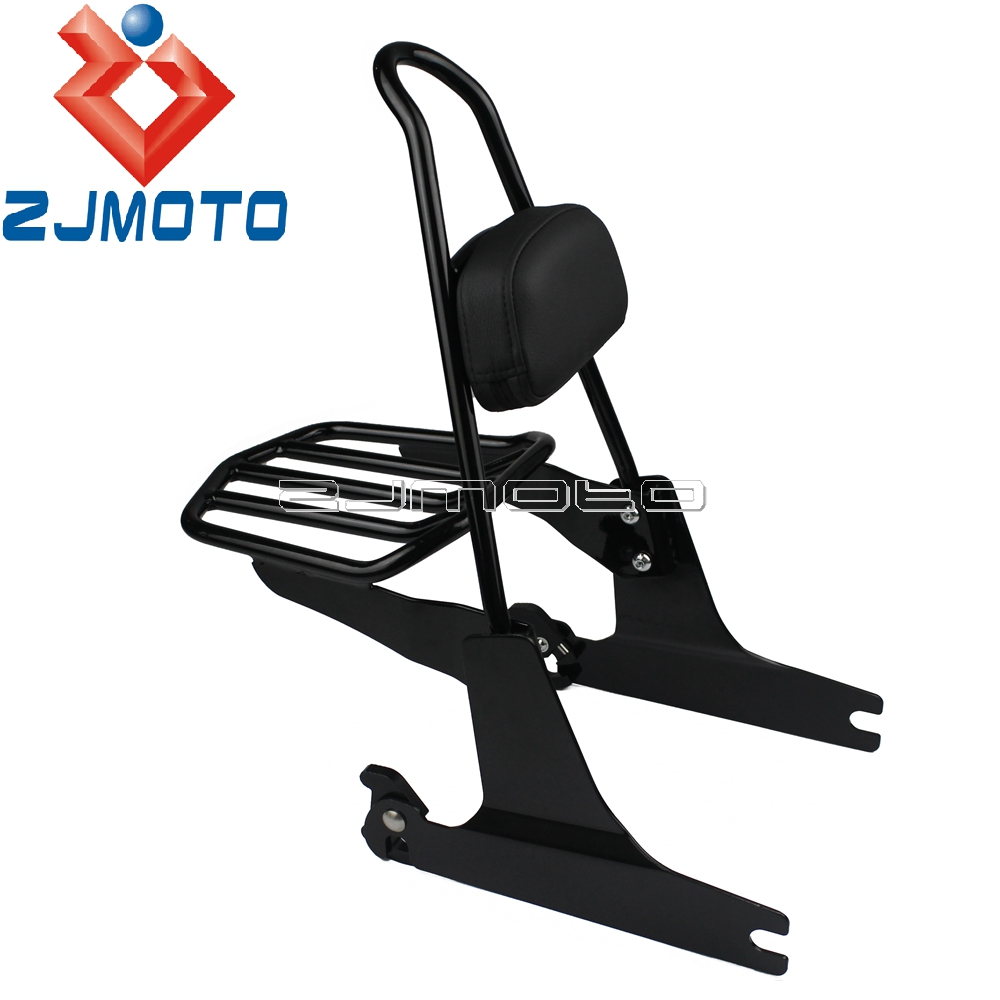 Motorcycle Detachable Sissy Bar Backrest Luggage Rack For Harley Dyna 2002 2005 Super Glide Low Rider