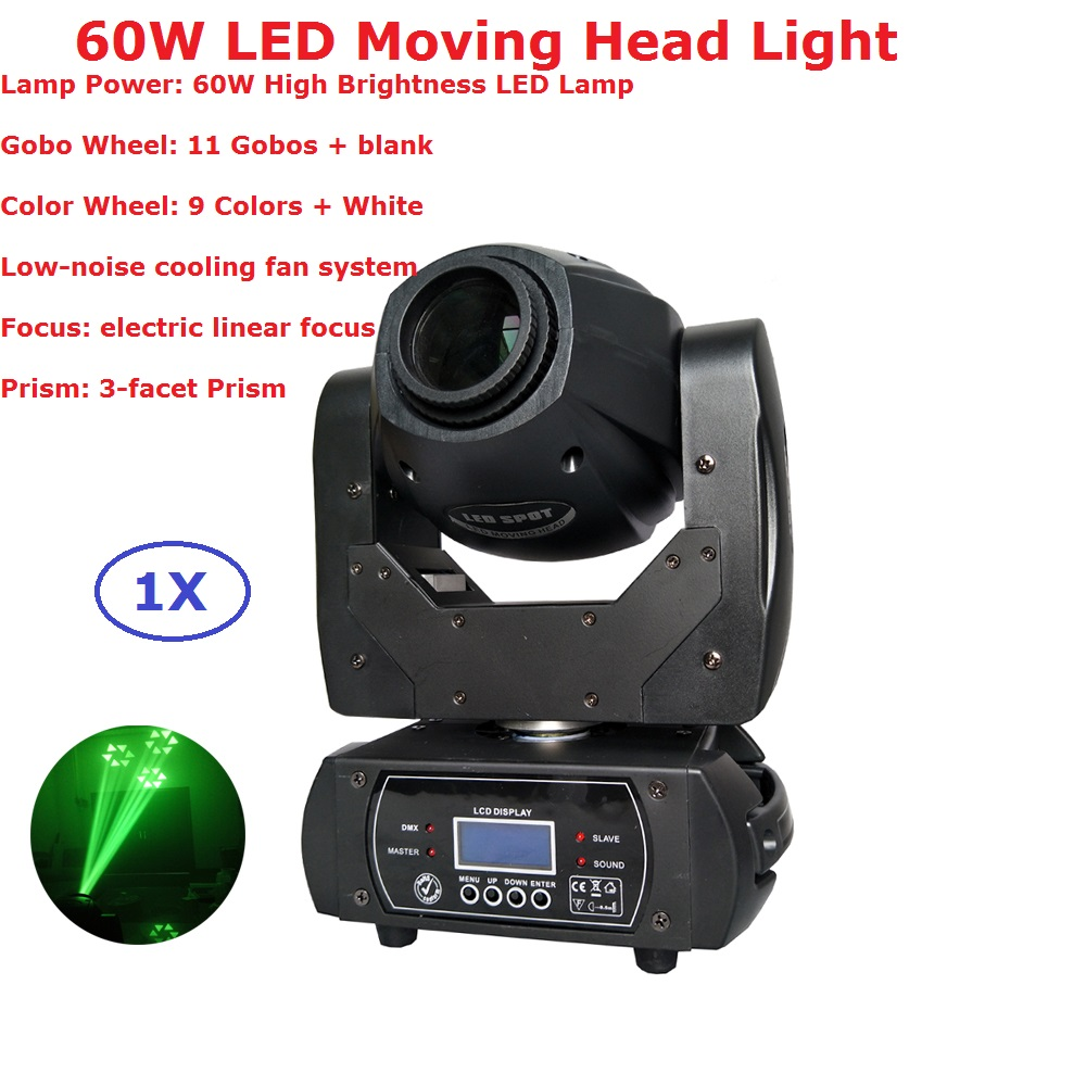 1XLOT 60W LED Moving Head Spot Stage Lighting 10/12 DMX Channel High-Quality 60W 3 Facet Prism Led Moving Lights New Arrival