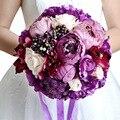 Romantic Artificial Purple Wedding Bouquet For Brides Handmade Rose Flowers Bridal Brooch Bouquets Roze Bouquets De Mariage 2016