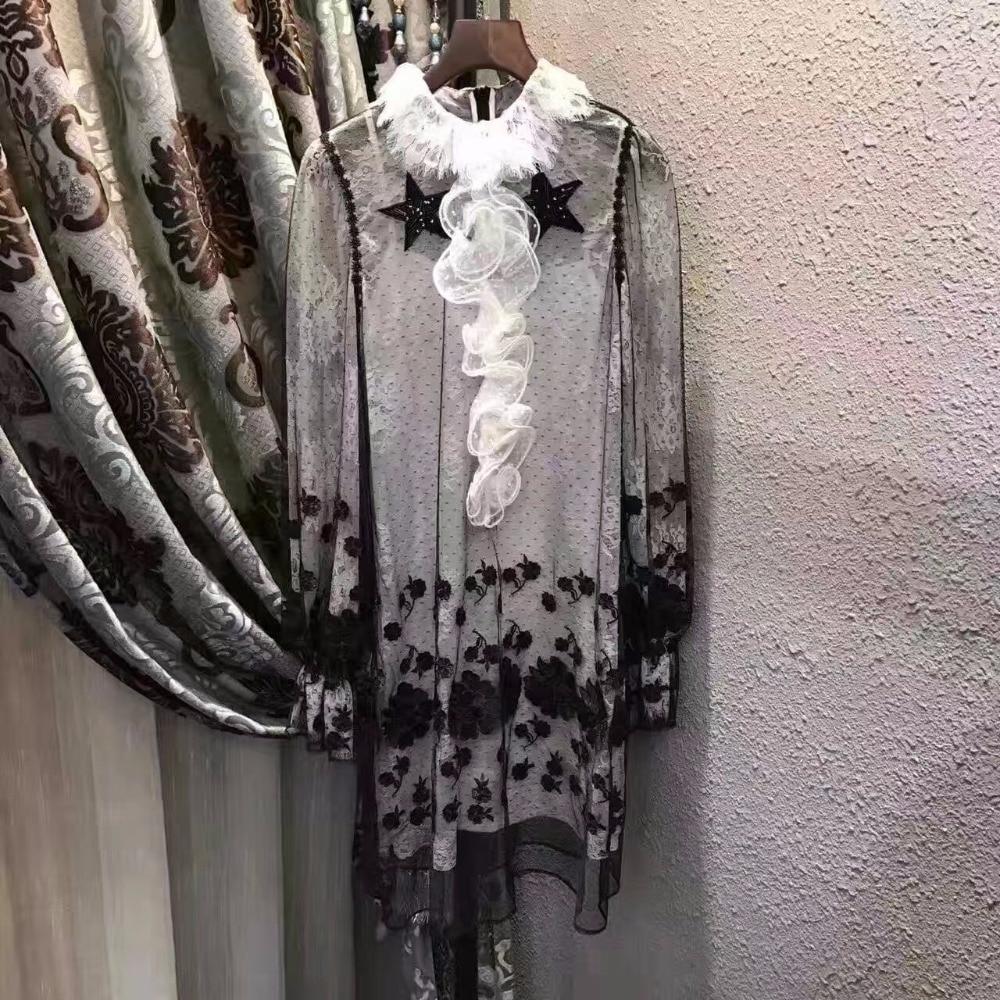 Подиумные платья Великолепная Половина рукава из прозрачной сетки с вышивкой длинные платья Чешский бренд Стиль Vestidos De Festa